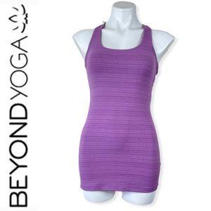 Beyond Yoga Purple Striped Racerback Bra Tank Top
